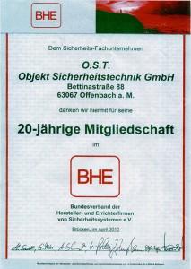 O.S.T. Sicherheit Offenbach 20-jährige Mitgliedschaft im Bundesverband der Hersteller- und Einrichterfirmen von Sicherheitssystemen e. V. BHE