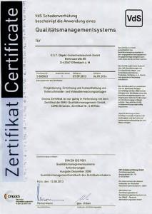 VdS Schadenverhütung bescheinnigt die Anwendung eines Qualitätsmangementsystems für O.S.T. Sicherheitstechnik Offenbach